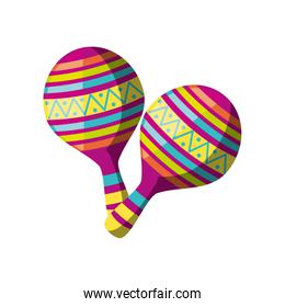 pair of maracas, musical instrument on white background