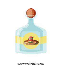 tequila bottle, traditional Mexican drink on white background