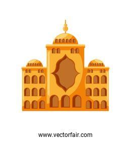 muslim temple, mosque building on white background