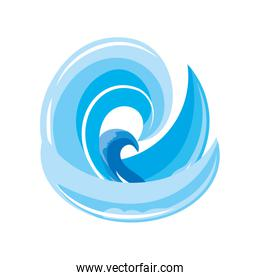 ocean waves with curling on white background