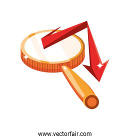 magnifying glass with red arrow on white background