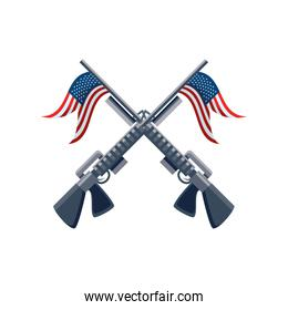rifle with flag of united states on white background