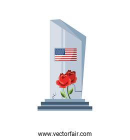 commemorative tombstone with USA flag on white background