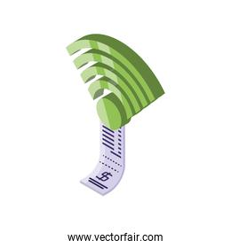 online payment voucher with wifi on white background
