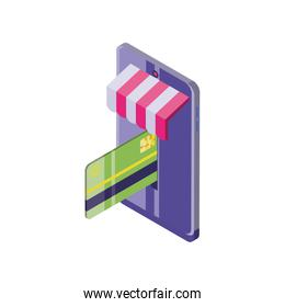 smartphone with credit card on white background