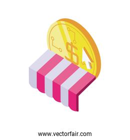 digital currency with tent on white background