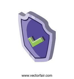shield with check box symbol on white background