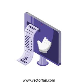 screen with purchase ticket on white background