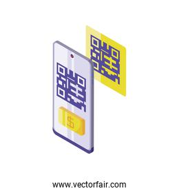 smartphone scanning QR-code on white background