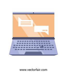 open laptop with speech bubble on white background