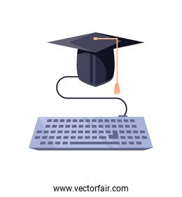 computer keyboard with graduation hat icon isolated
