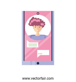smartphone with speech bubble on white background