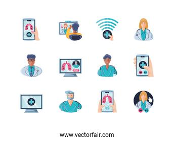 set of icons online healthcare