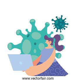 woman in prevention of contact with coronavirus