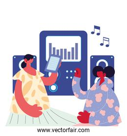 couple listening music with electronic devices