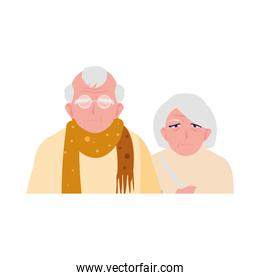 adorable old couple sharing at home