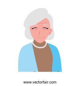 happy elderly woman wearing clothes