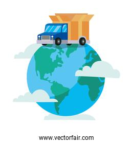 truck delivery service in the top of earth planet