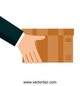 hands lifting box carton delivery service