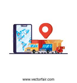 trucks and motorcycle with smartphone delivery service