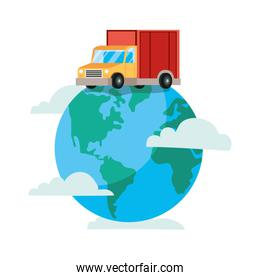 truck delivery service with earth planet