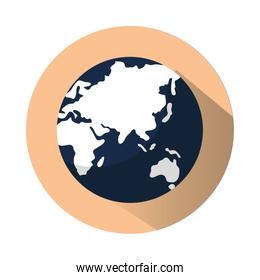world planet in round frame isolated icon