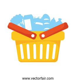 shopping basket marketing with groceries