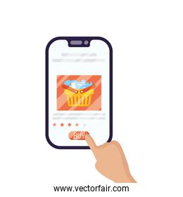 hand using smartphone with shopping basket ecommerce