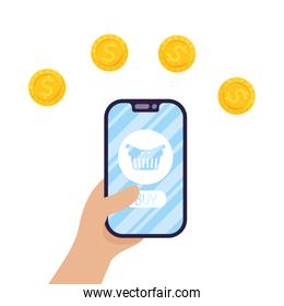 smartphone with shopping basket and coins