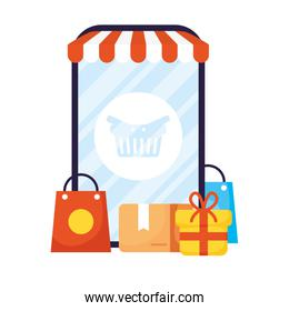 smartphone with parasol and icons ecommerce