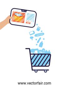 smartphone with shopping cart ecommerce