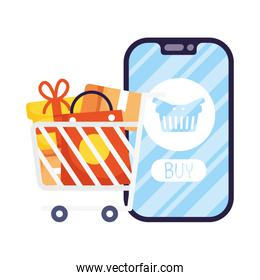 smartphone with shopping basket and cart