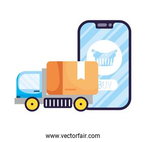 smartphone with shopping basket and truck