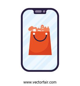 smartphone device with shopping bag