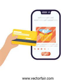 smartphone with shopping basket and credit card