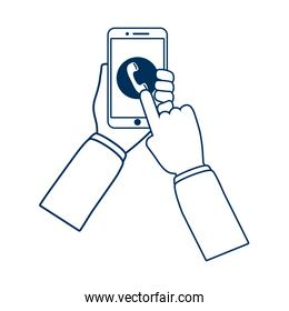 hands using smartphone device technology