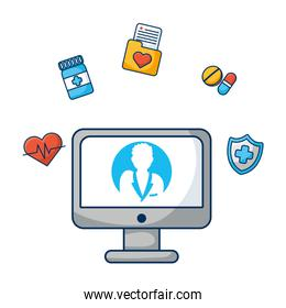 desktop computer with doctor and medical icons