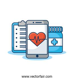 smartphone with heart cardio and order medical
