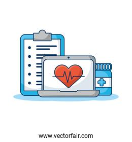 laptop computer with heart cardio and order telemedicine