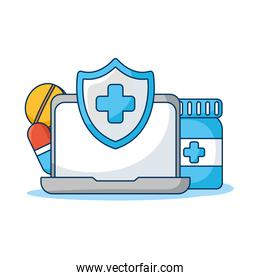 laptop computer with shield and drugs telemedicine technology