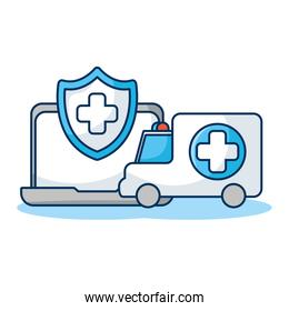 laptop computer with shield and ambulance telemedicine