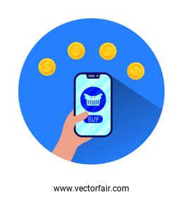 smartphone with shopping basket ecommerce
