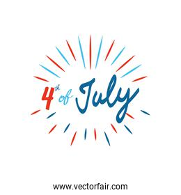 4 of july design with decorative burst, flat style