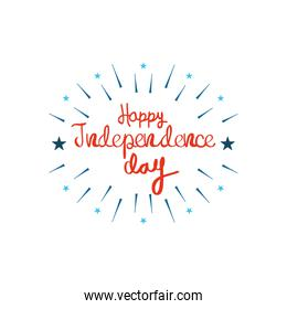 United Stated independence day concept, July 4th typographic design with decorative burst and stars around, flat design