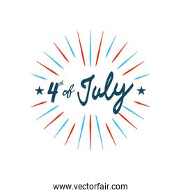 4 of july design with decorative stars and burst, flat style