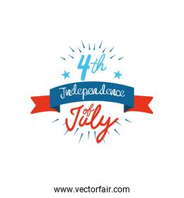 Fourth of July, United Stated independence day concept, July 4th typographic design with decorative ribbon and stars, flat design