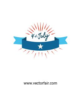 Fourth of July, United Stated independence day concept, July 4th typographic design and decorative ribbon, flat design