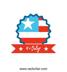 4th of july concept, Happy independence day design with seal with usa flag and decorative ribbon, flat style
