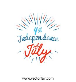 United Stated independence day concept, July 4th typographic design with decorative burst, flat design