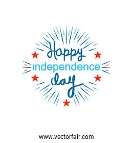 United Stated hsppy independence day typographic design with decorative stars and burst, flat design
